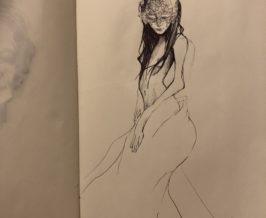 ペン画『仮面の女』
