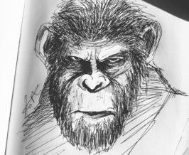 ペン画『猿の惑星』