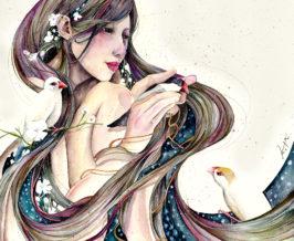 『eden』/墨,水彩,色鉛筆